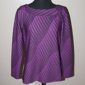 Dana Buchman Purple and Black Long Sleeve Top